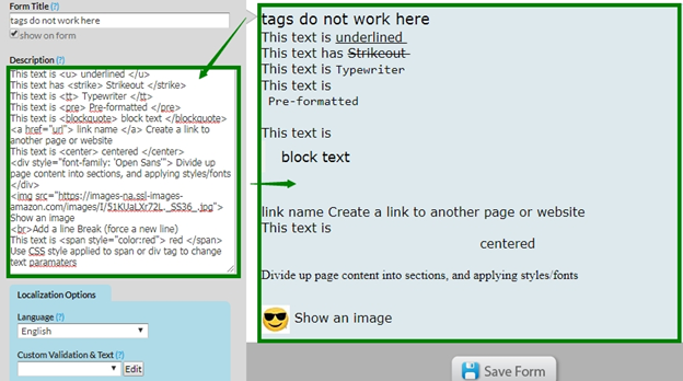 How to add formatting to captions/labels/etc using HTML tags? – Help